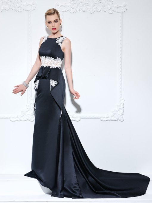 Straps Appliques Ruffles Mermaid Black Evening Dress
