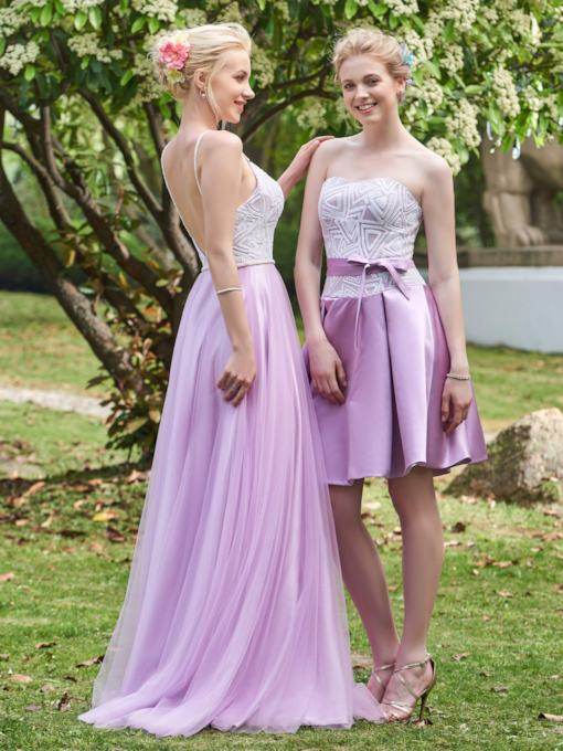 Sweetheart Sequins Zipper-Up A-Line Short Bridesmaid Dress