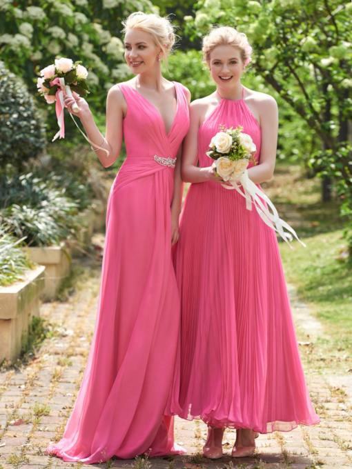 Halter Ruched Ankle-Length A-Line Bridesmaid Dress