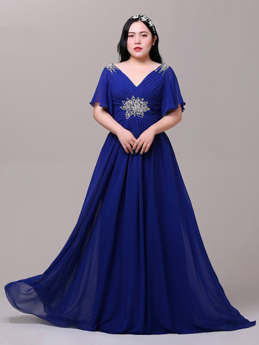 Beading Pleats Sequins Plus Size Evening Dress