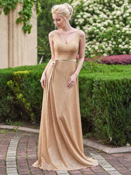 Shining V-Neck Straps Golden Sequins Bridesmaid Dress