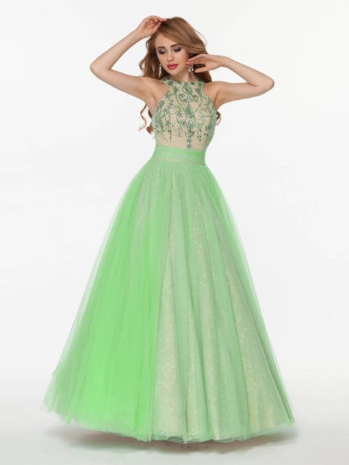 A-Line Halter Beading Bowknot Floor-Length Prom Dress