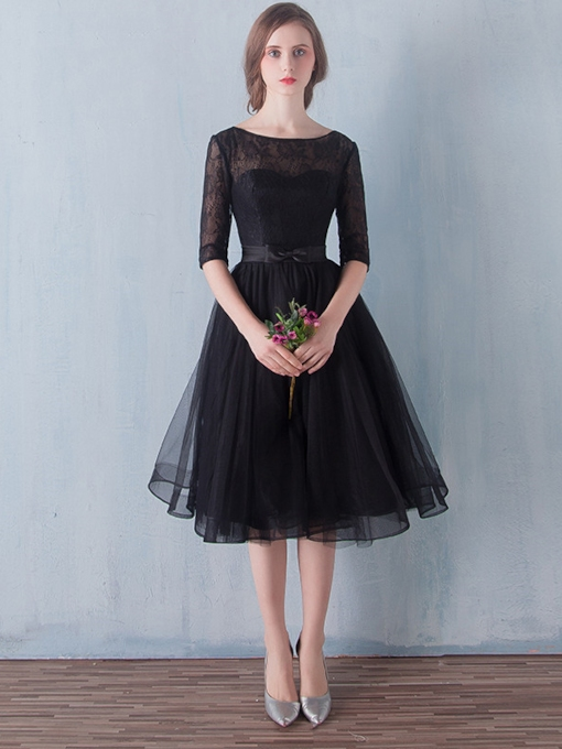 A-Line Scoop Lace Sashes Tea-Length Prom Dress