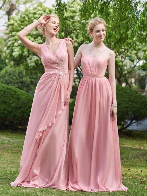 V-Neck Straps Ruched Appliques Bridesmaid Dress