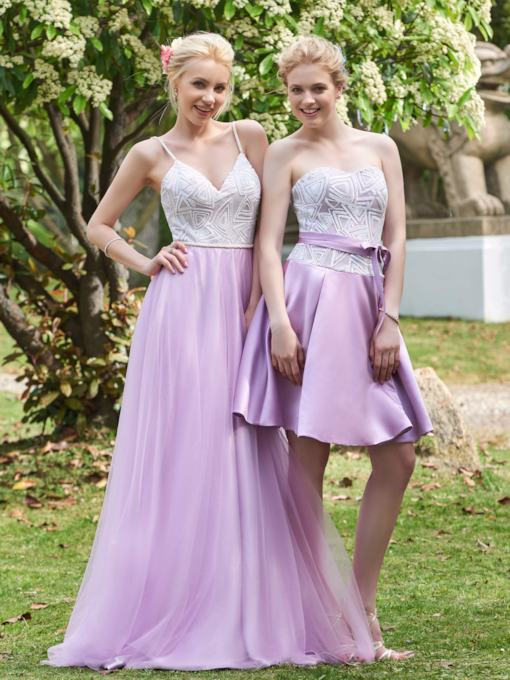 Spaghetti Straps Sequins Long Bridesmaid Dress