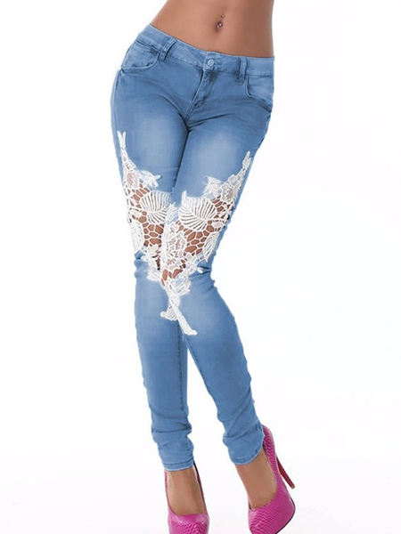 Lace Denim Patchwork Perspective Women's Jeans