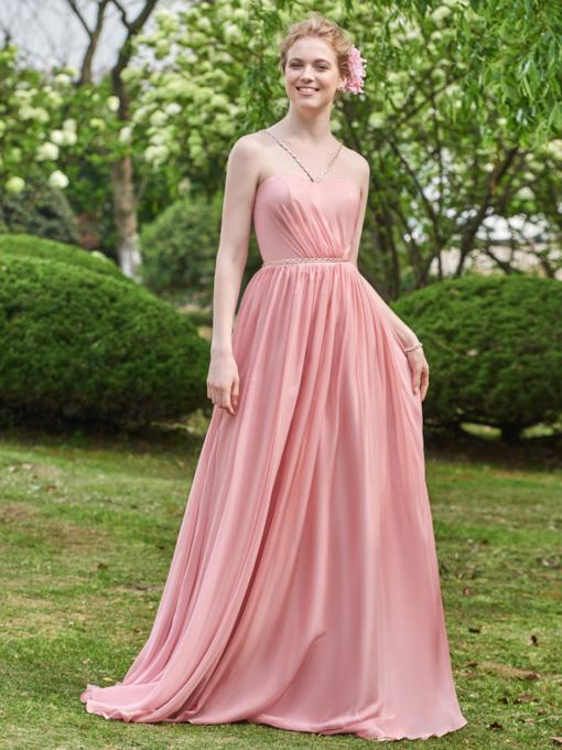 Beading Spaghetti Straps Long Bridesmaid Dress
