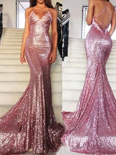 Spaghetti Straps Mermaid Appliques Sequins Court Train Evening Dress