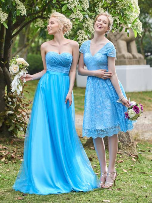 Sweetheart Pleats Long Lace Bridesmaid Dress