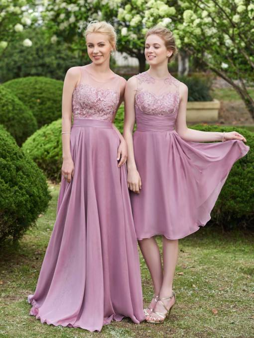 A-Line Button Knee-Length Lace Bridesmaid Dress