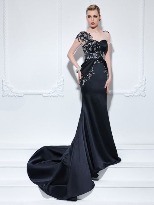 Bateau Zipper-Up Mermaid Appliques Beading Court Train Evening Dress