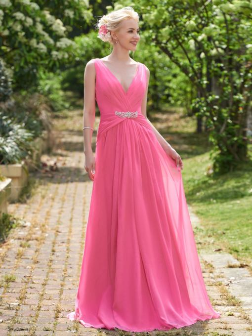 V-Neck Ruched Beading A-Line Bridesmaid Dress