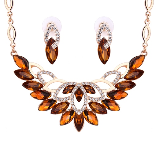 Brown Rhinestone Feathers Two-Piece Jewelry Set