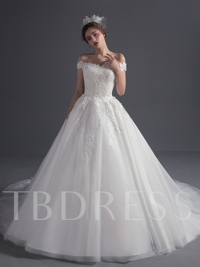 Image of Ball Gown Off the Shoulder Appliques Wedding Dress