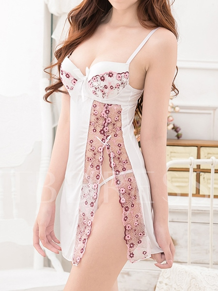 Lace Slit Up Sexy Nightgown Babydoll