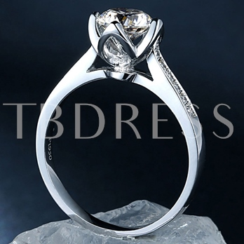 1 Carat Pure Silver Gold-Plated Ring