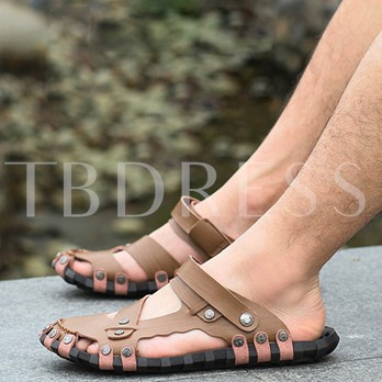 Round Toe Hollow Flat Heel Ankle Strap Men's Sandals