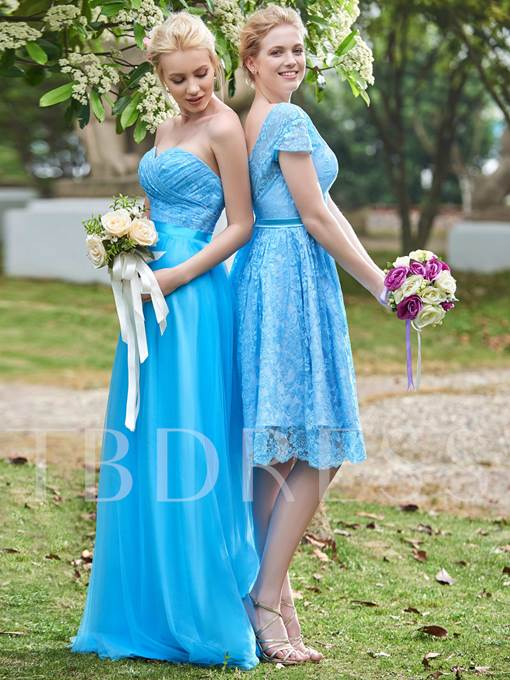 Sweetheart Lace Ruched A-Line Floor-Length Bridesmaid Dress