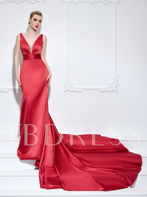 Mermaid V-Neck Beading Ruched Chapel Train Evening Dress
