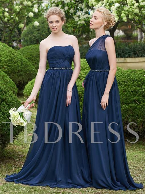 Strapless Ruched Beading Bridesmaid Dress
