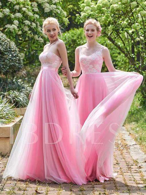Sweetheart Lace Zipper-Up A-Line Bridesmaid Dress