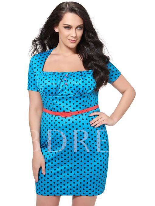 Square Neck Polka Dots Women's Plus Size Dress