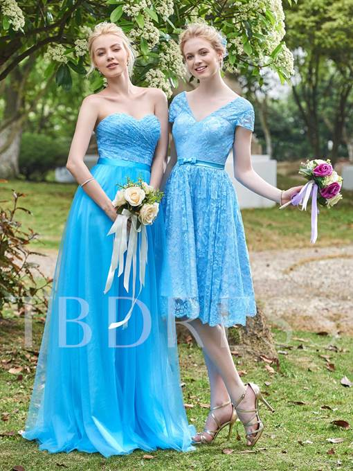 V-Neck Cap Sleeves Lace A-Line Knee-Length Bridesmaid Dress