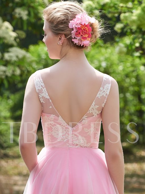V-Neck Straps Lace Zipper-Up A-Line Bridesmaid Dress