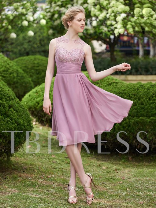 Lace Button Knee-Length A-Line Bridesmaid Dress