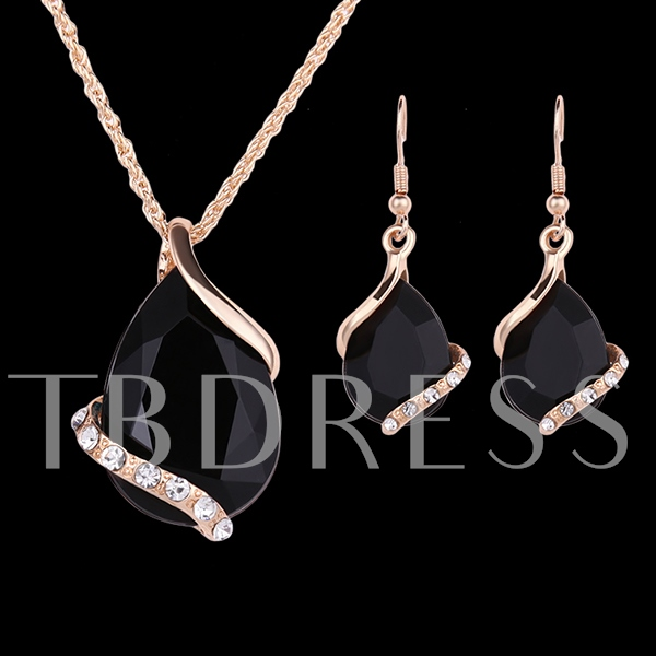 Black Gems Two-Piece Jewelry Set