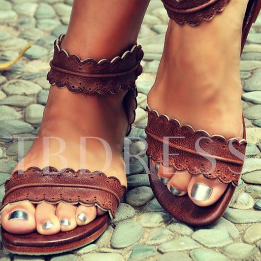 Ankle Strap Open Toe Slip-On Plain Flat Heel Women's Sandals