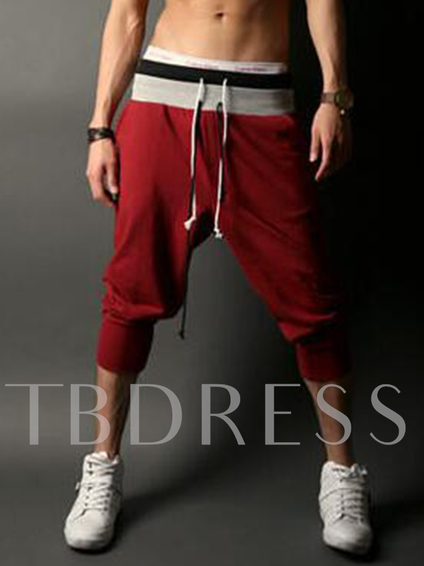 Men's Solid Color Jogger Pants with Lace-up Waist
