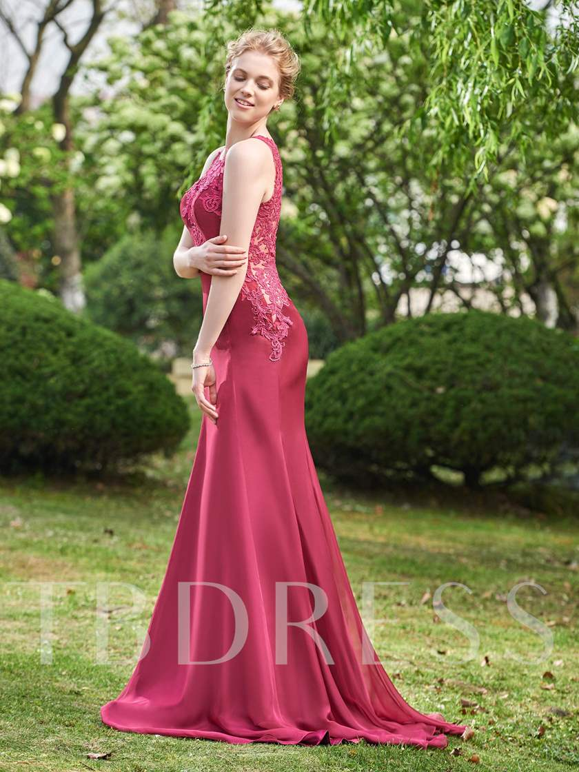 Straps Appliques Button Sheath Bridesmaid Dress