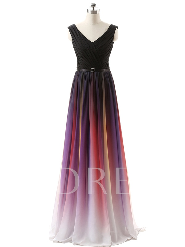 Fading Color Long Bridesmaid Dress