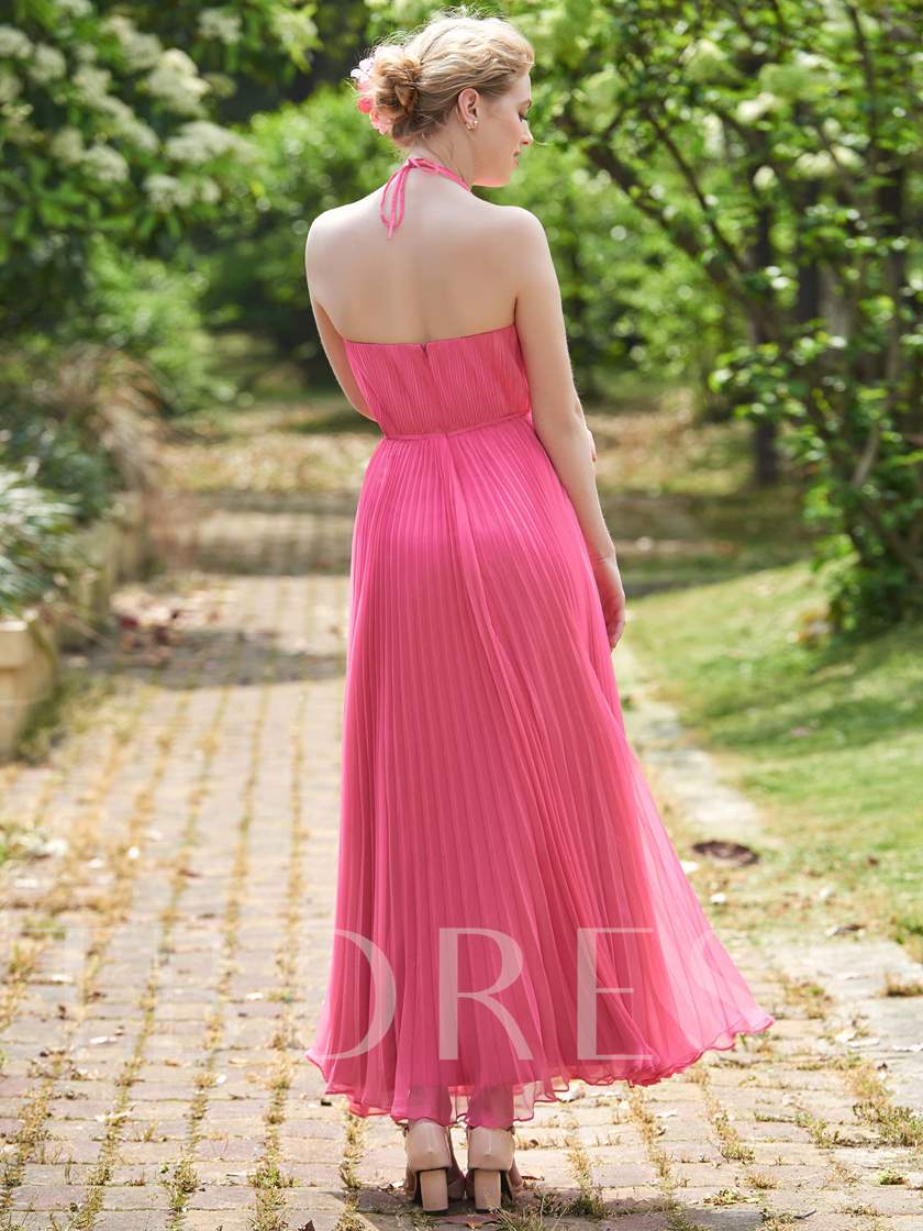 Halter Ruched Ankle-Length Bridesmaid Dress