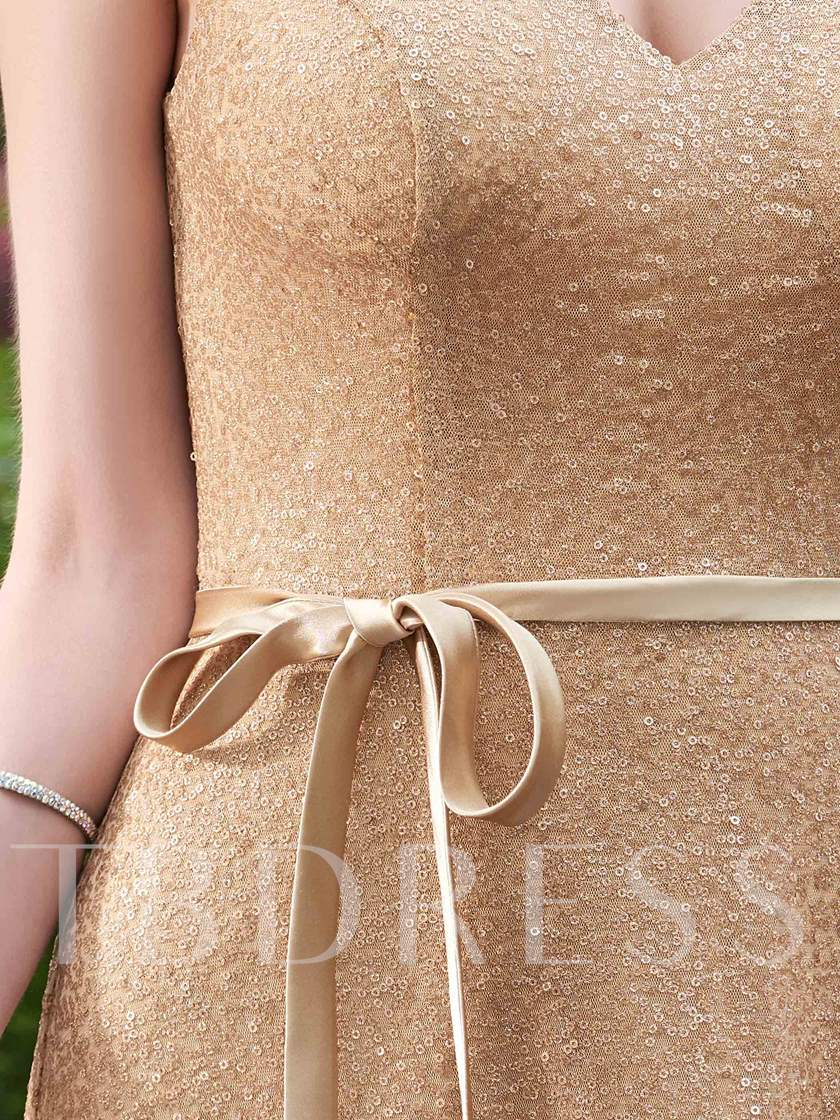 Shining Straps Sequins Bridesmaid Dress