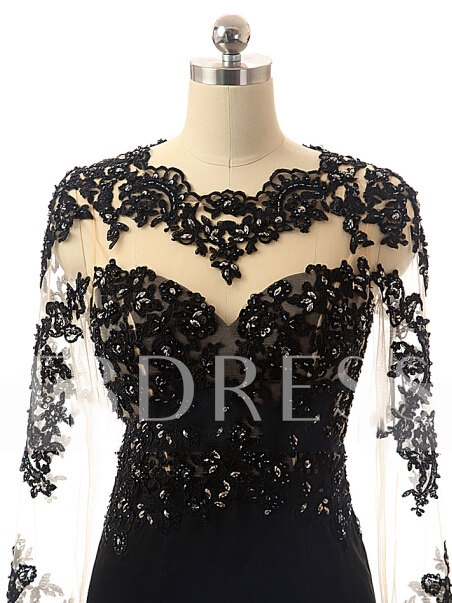 Jewel Trumpet Long Sleeves Appliques Beading Court Train Evening Dress