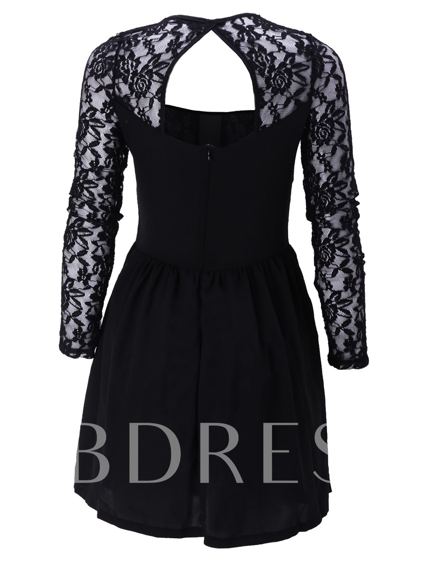 Backless Hollow Patchwork Women's Lace Dress