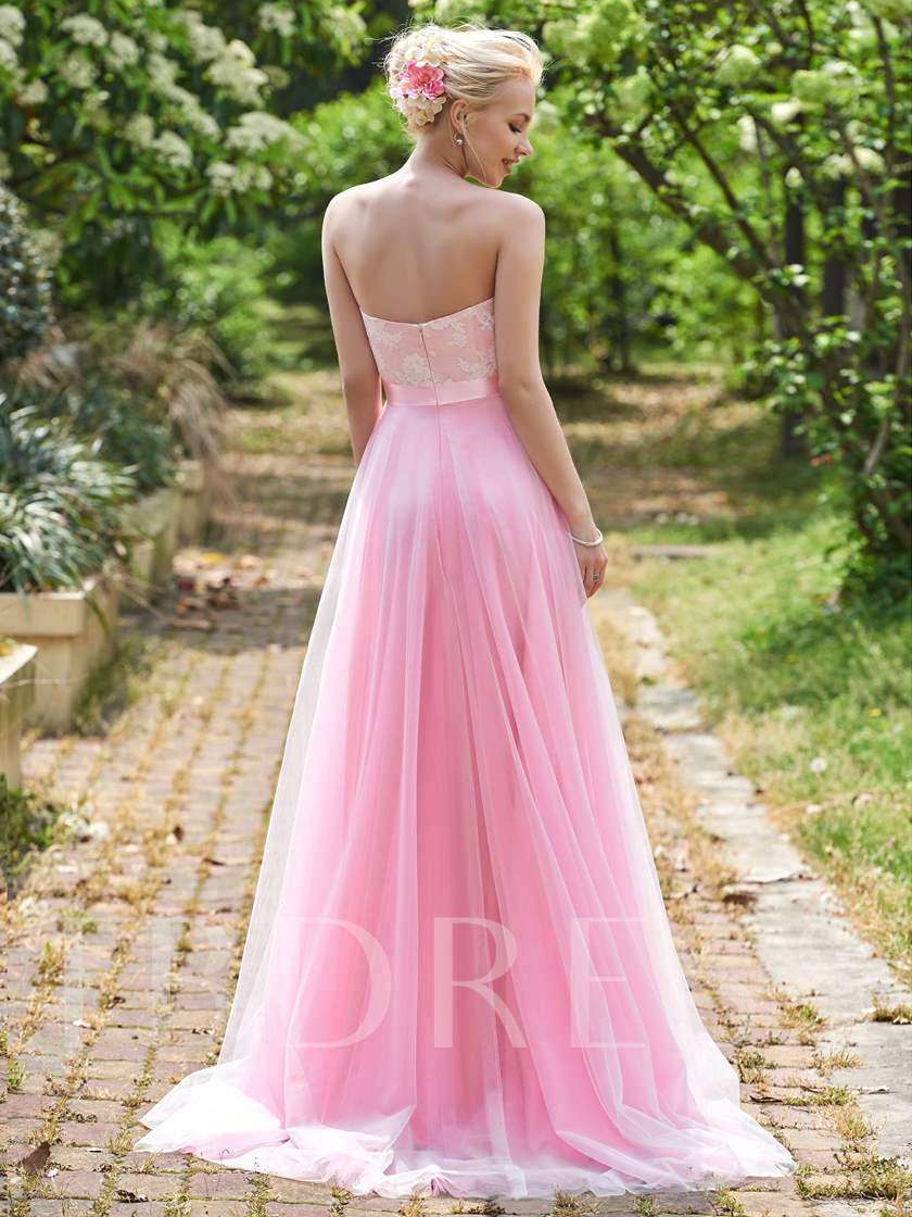 Sweetheart Lace Long Bridesmaid Dress