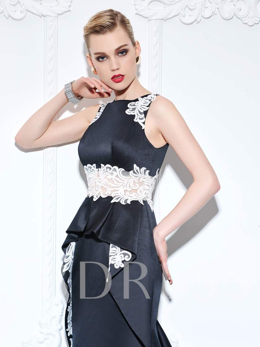 Trumpet Straps Appliques Ruffles Court Train Evening Dress