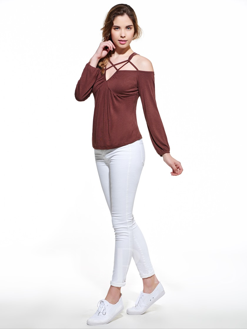 Solid Color Off Shoulder Crisscross Women's T-shirt