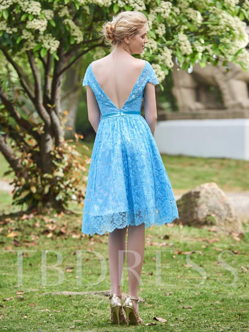 Cap Sleeves Lace Knee-Length Bridesmaid Dress