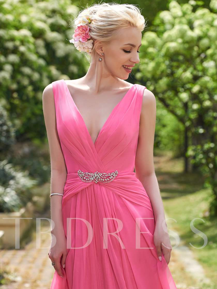 V-Neck Ruched Beading Floor-Length A-Line Bridesmaid Dress