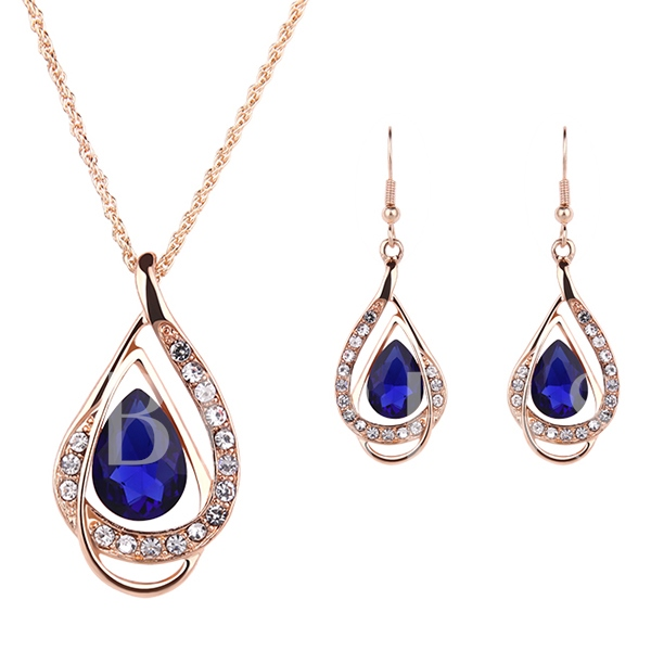 Water Droplets Shape Royal Blue Gems Two-Piece Jewelry Set