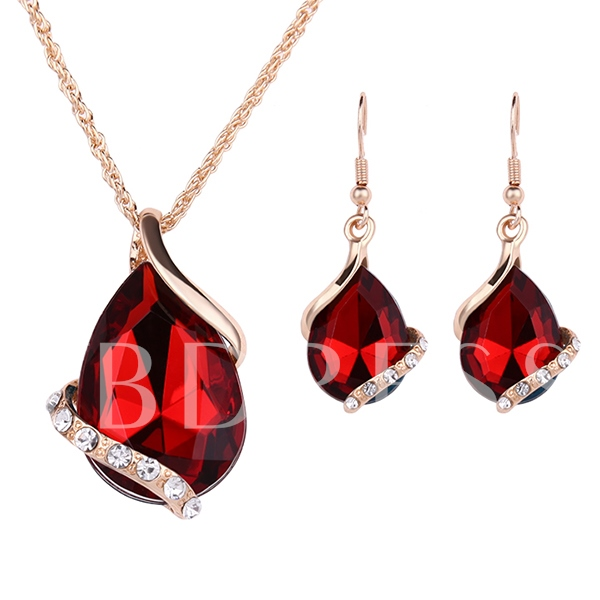 Red Gems Two-Piece Jewelry Set