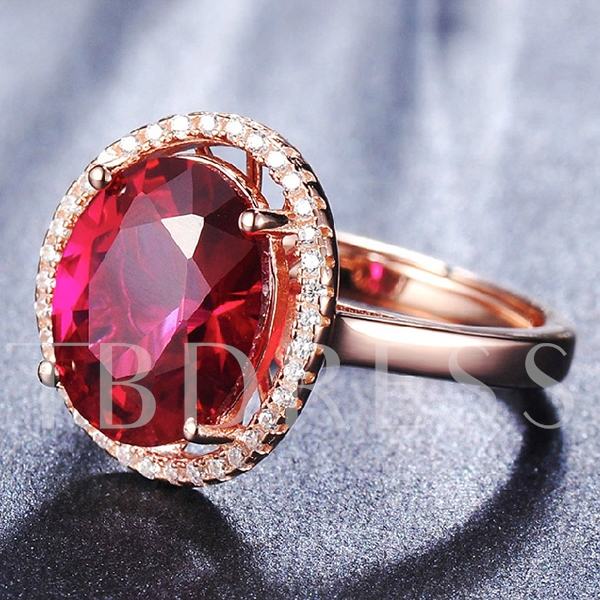 Red Corundum Gold-Plated Ring