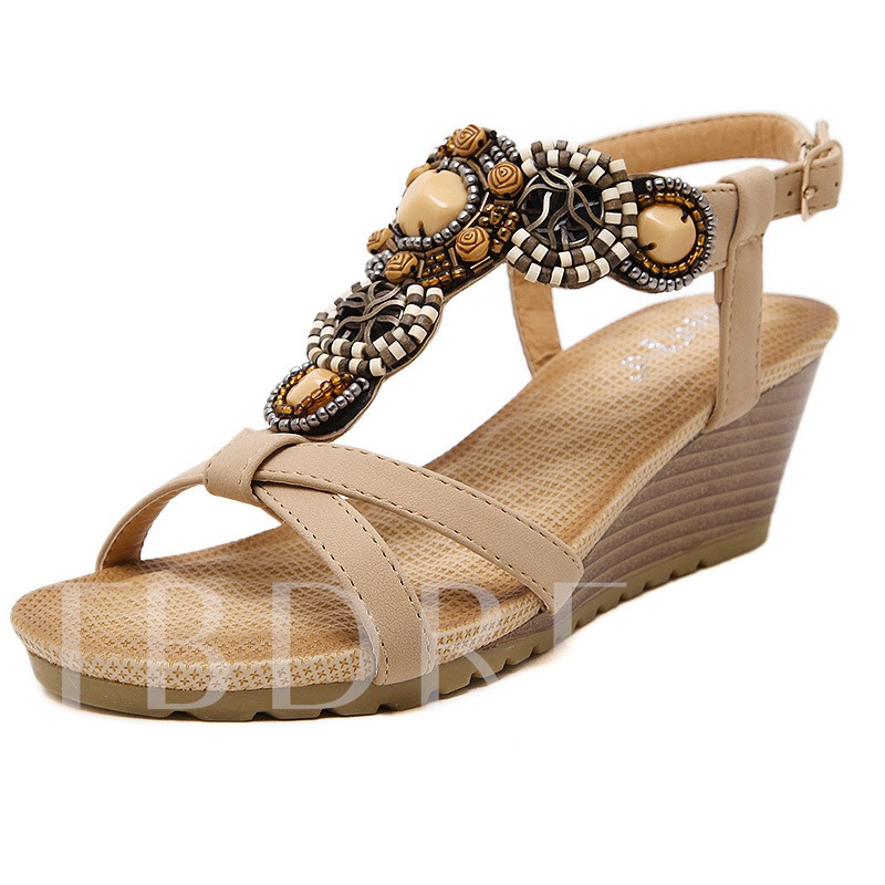 Open Toe Buckle Plain Wedge High Heel Rhinestone Women's Sandals
