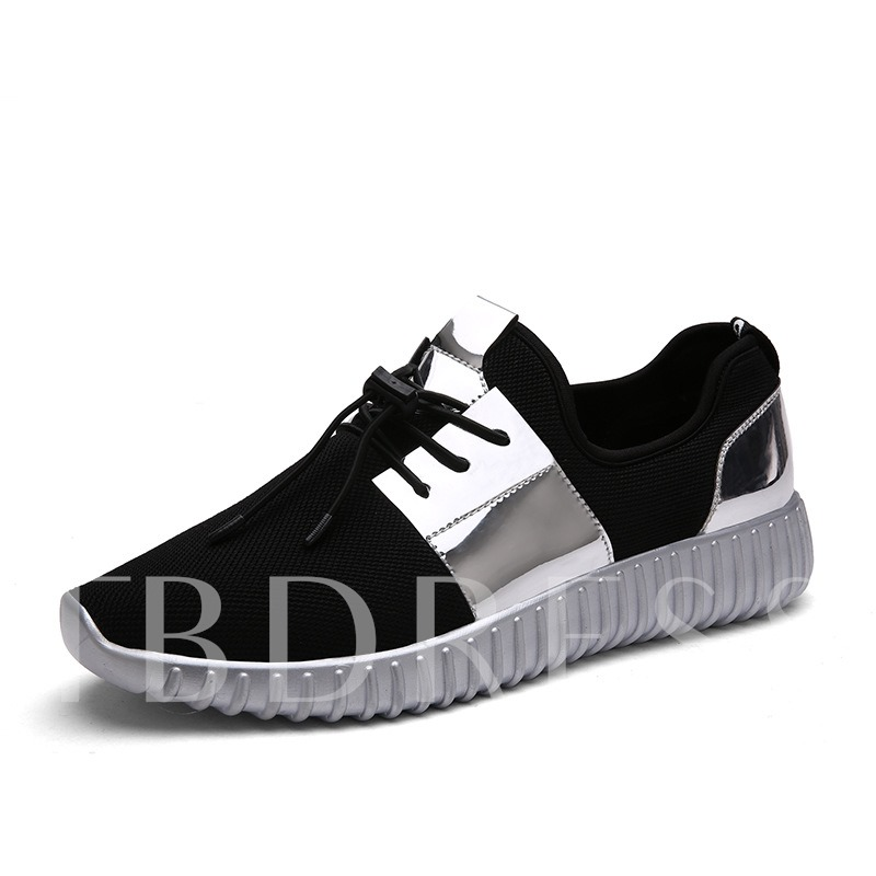 Round Toe Flat Heel Patchwork Cross Strap Lace-Up Men's Sneakers