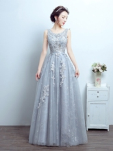 A-Line Scoop Appliques Beading Lace Sweep Train Evening Dress