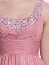 A-Line Square Beading Draped Sweep Train Prom Dress